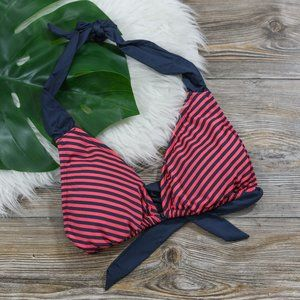Navy blue and pink striped bikini top